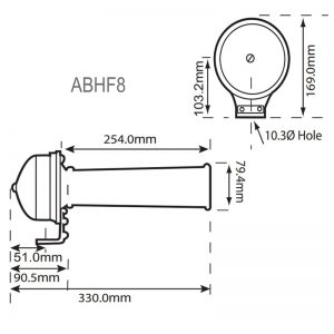 ABHF8 Industrial Buzzers - Technical Drawing
