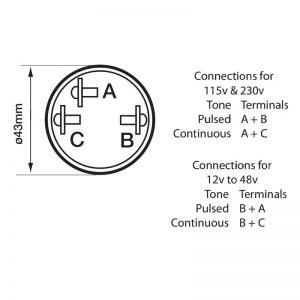 AE20M Acoustic Signals Series Piezo Miniature Buzzer- Technical Drawing - Connections