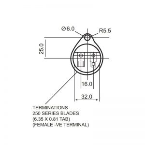 AE30M Series Flat Top Or Trumpet Top Miniature Buzzers - Technical Drawing Base Terminations