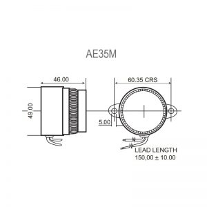 AE35M - Series Piezo Buzzers Technical Drawing - Side & Top