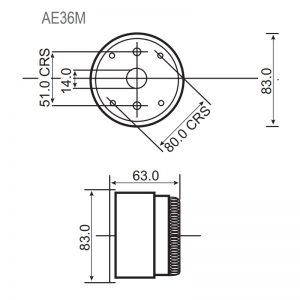 AE36M - Series Piezo Buzzers Technical Drawing - Base & Side