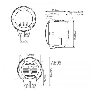 AE95 Industrial Buzzers - Technical Drawing