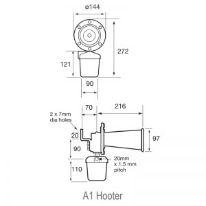 A1 Hooter - Acoustic Signals Industrial Hooters - Technical Drawing