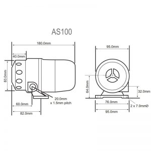 AS100M & AS200M Industrial Sirens - Technical Drawing AS100M