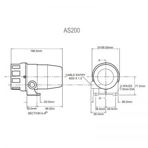 AS100M & AS200M Industrial Sirens - Technical Drawing AS200M