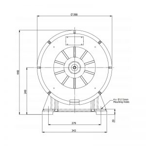 AS600MF & AS700MF FP6 & GP6 Wide Area Signalling Series Industrial Siren - FP6 Technical Drawing - Front