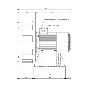 AS600MF & AS700MF FP6 & GP6 Wide Area Signalling Series Industrial Siren - GP6 Technical Drawing - Side