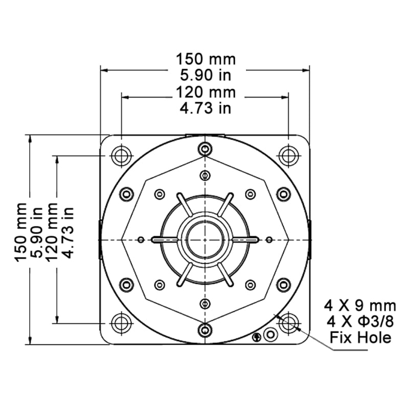BC150 Explosion Proof Beacons Technical Drawing - Base