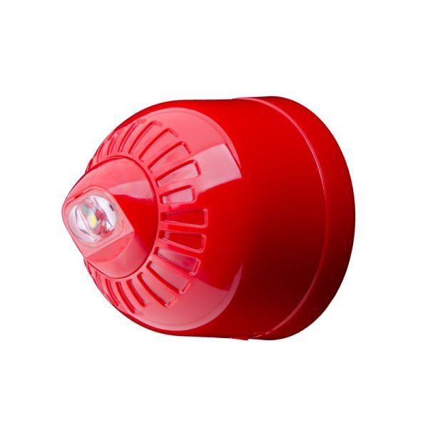 EN54 pt23 Conforming Sonos Pulse - Wall, Beacon, Shallow Base, Red Body - White Flash