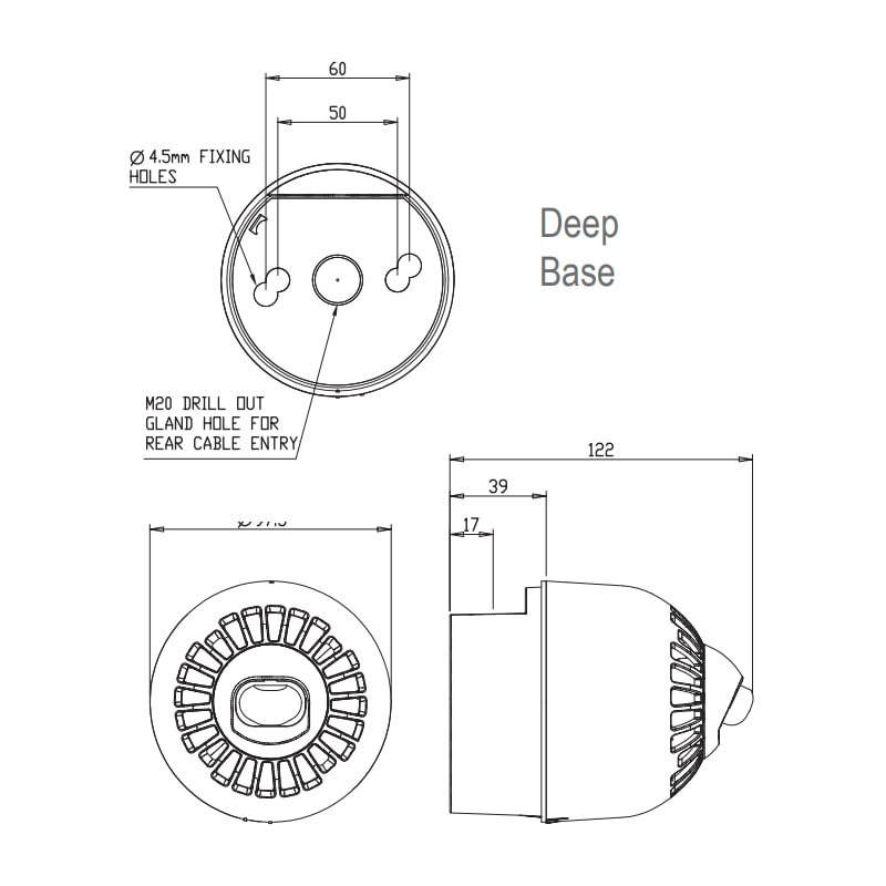 EN54 pt23 Conforming Sonos Wall Series - Technical Drawing - Deep Base