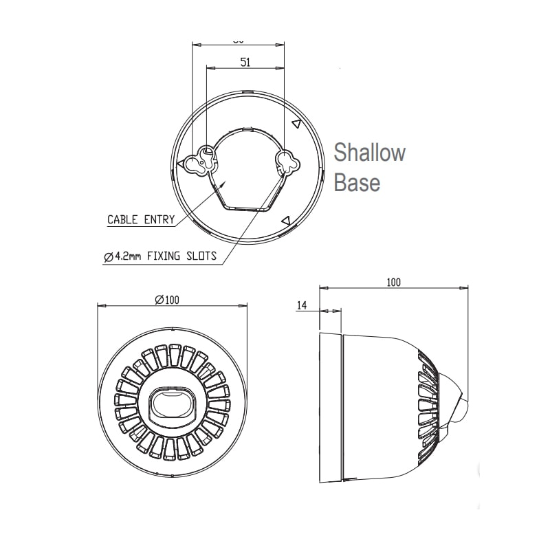 EN54 pt23 Conforming Sonos Wall Series - Technical Drawing - Shallow Base