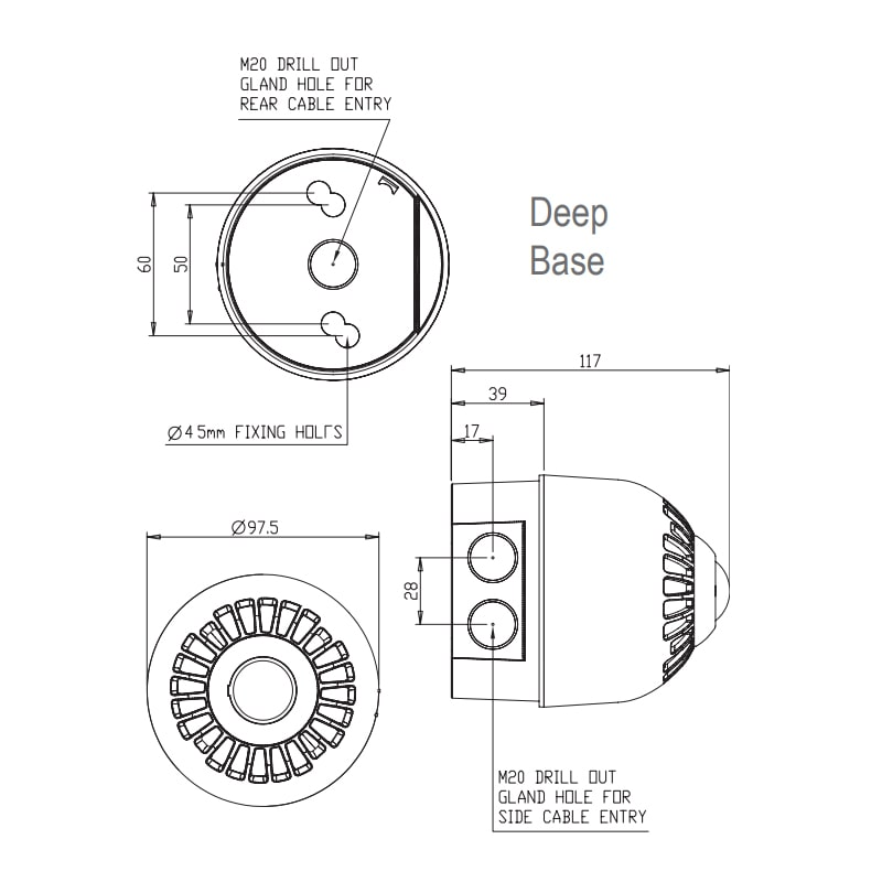 EN54 pt23 Conforming Sonos and Nexus Series - Technical Drawing - Deep Base
