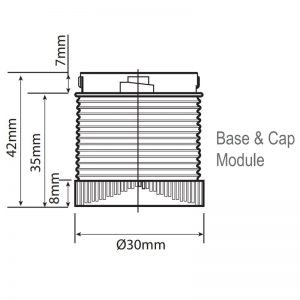 LED-MINI Industrial LED ECO Beacons - Technical Drawing - Base & Cap Module