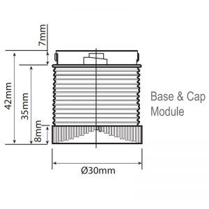 LED-Mini LED éco-balises industrielles-dessin technique-module base & Cap