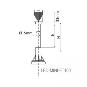 LED-MINI Industrial LED ECO Beacons - Technical Drawing - FT100
