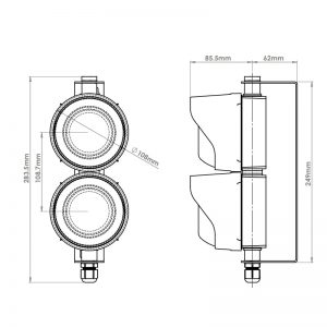 LED TL Series - Factory Assembledl LED Traffic Light - Technical Drawing - Double - Front & Side