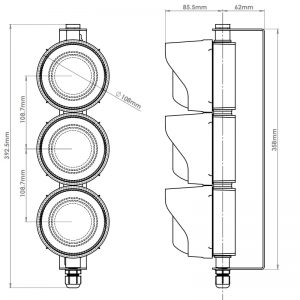 LED TL Series - Factory Assembledl LED Traffic Light - Technical Drawing - Triple - Front & Side