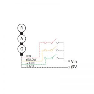LED TL Series - Factory Assembledl LED Traffic Light - Technical Drawing - Triple - Wiring