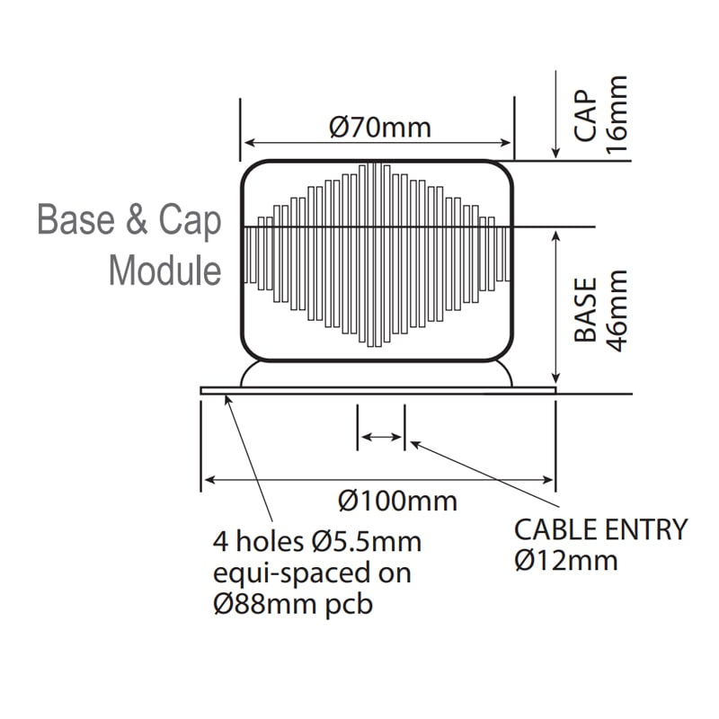 LED-TLM Industrial LED ECO Beacons - Technical Drawing - Base Module