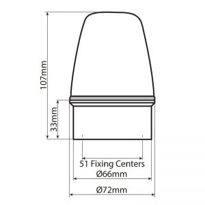 LED100 Industrial LED ECO Beacons - Technical Drawing - Side