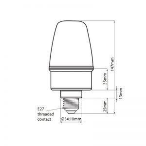 LEDES100 Industrial LED ECO Beacons - Technical Drawing - Side