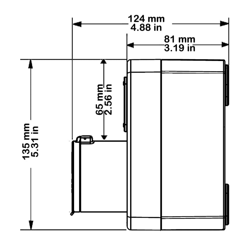 PB135 Technical Drawing Side