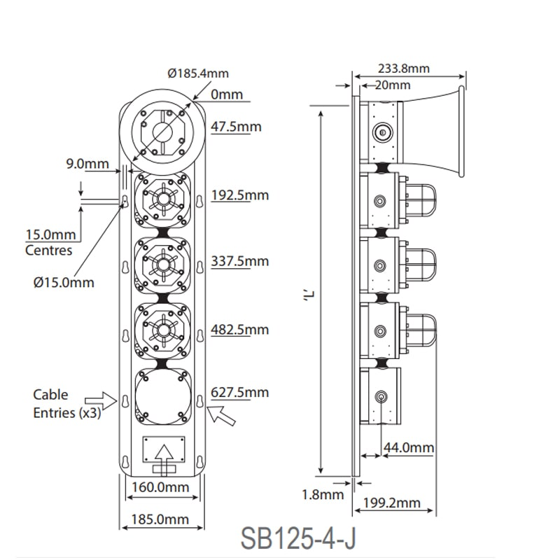 SB125-2,3,4 Technical Drawing