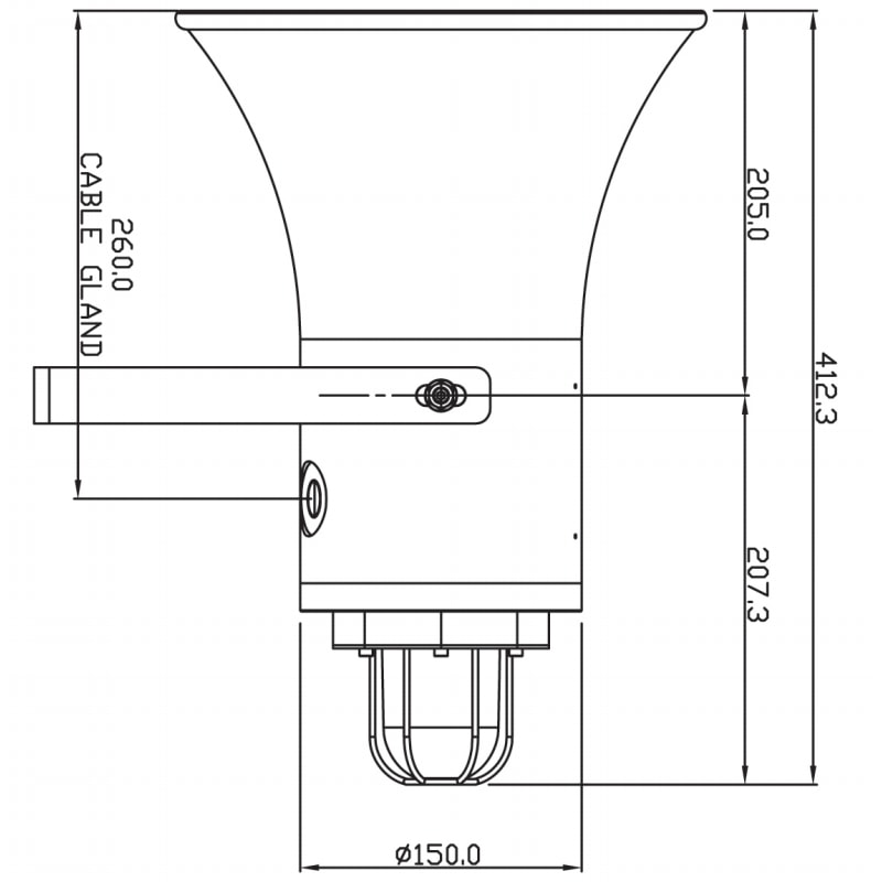 SB150 Explosion Proof Sounder Beacons Technical Drawing - Side
