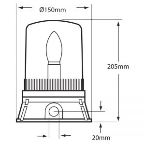 SF401-400 Series Industrial Static Filament Beacons Technical Drawing - Side
