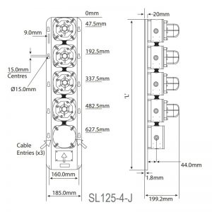 SL125 SL125 Explosion Proof Status Lights (Stainless Steel) - Technical Drawing