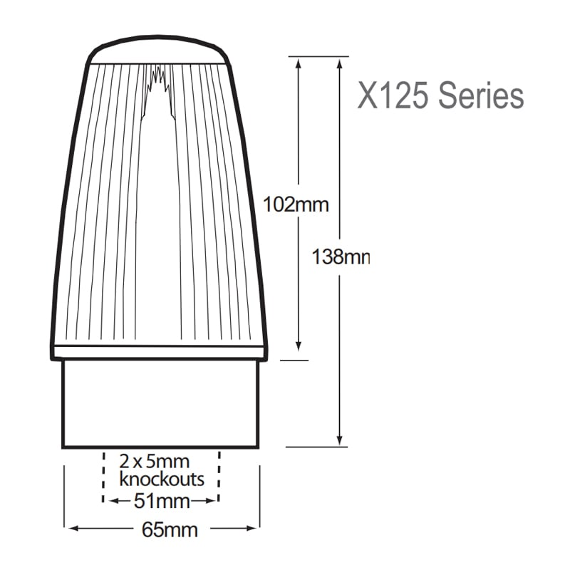 X125 Series Industrial Xenon Beacons - Technical Drawing - Side