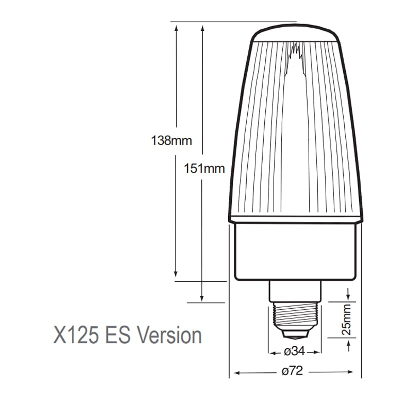 X125ES Series Industrial Xenon Beacons - Technical Drawing