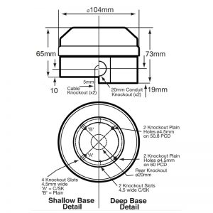 X195 Series Industrial Xenon Beacons - Technical Drawing - Side & Base