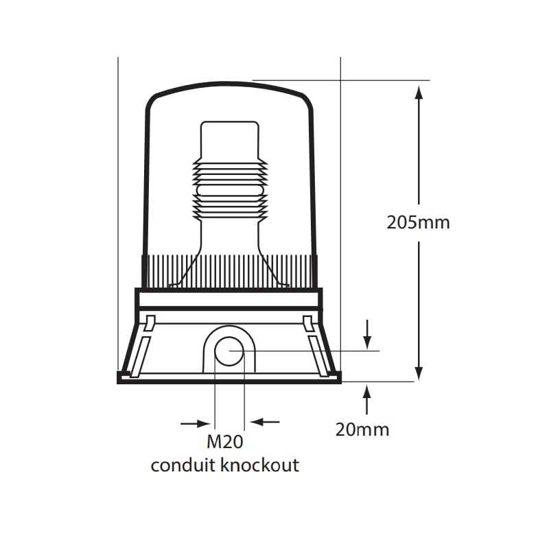 X401 Series Industrial Xenon Beacons - Technical Drawing - Side