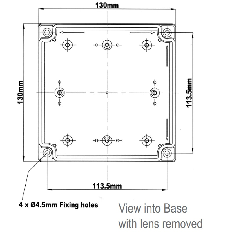 X700 Synchronous Series Industrial & Marine Xenon Beacons Technical Drawing - View into base with lens removed