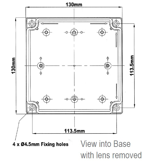 LED701-700 Technical Drawing - Lens Removed
